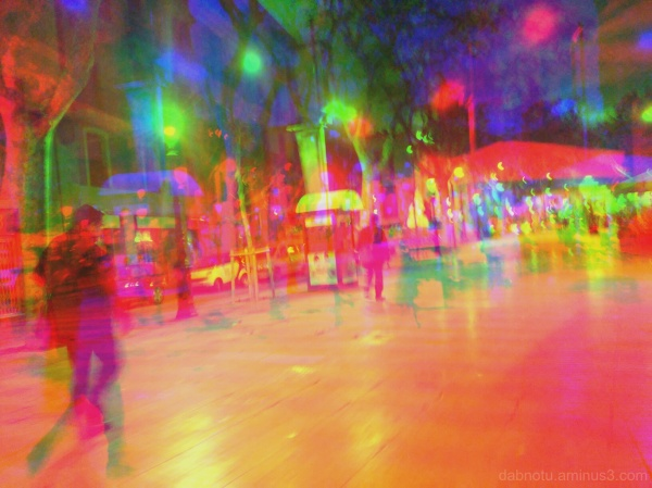 Barcelona color separated smartphone street photo.
