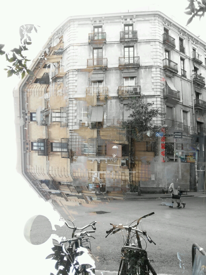 Double exposure smartphone street photography.