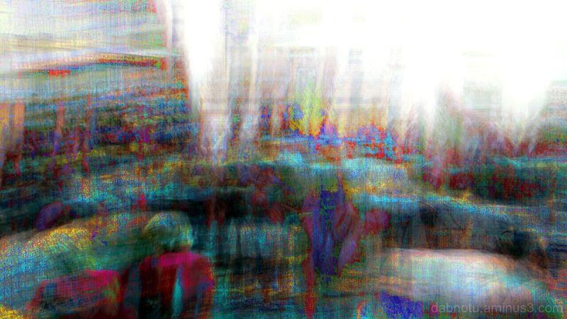 Double/long exposure photomanipulation experiment.