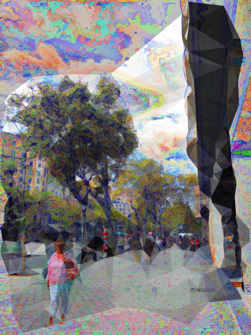 Barcelona street photography photomanipulation.