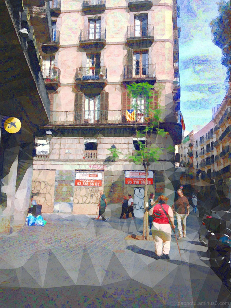 Barcelona street photography photomanipulation.