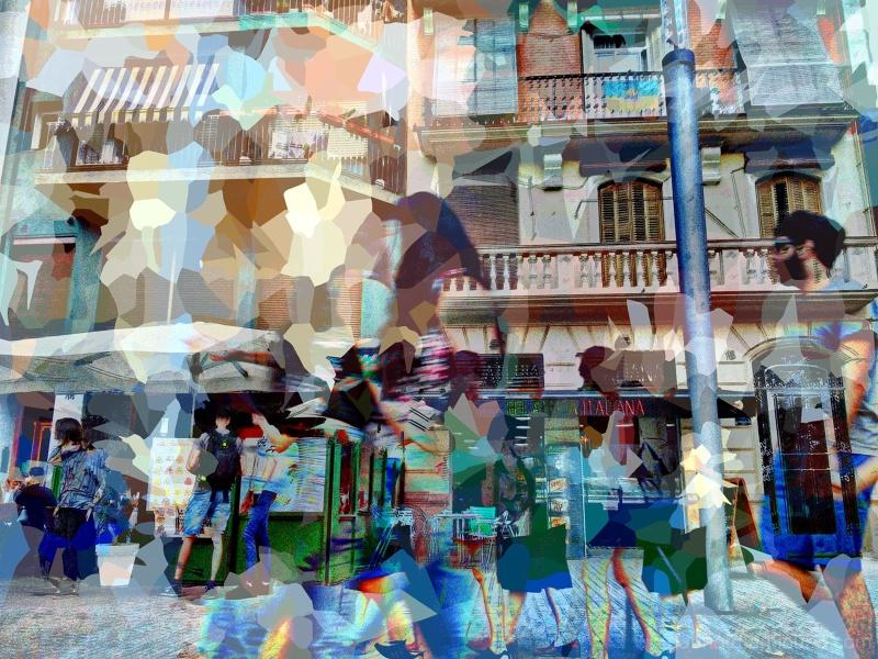 Barcelona multiple exposure street photography.