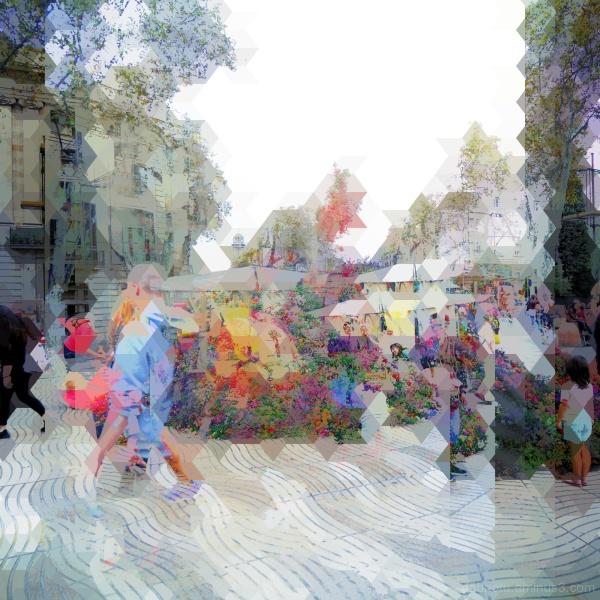 Barcelona street photography + cube/triangle/GIMP!