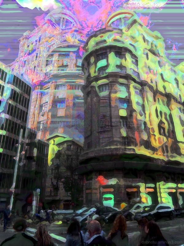 Barcelona street photography + databending + GIMP.