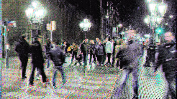 Barcelona glitch stereoscopic street photography.