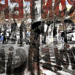 Barcelona urban street photography double exposure