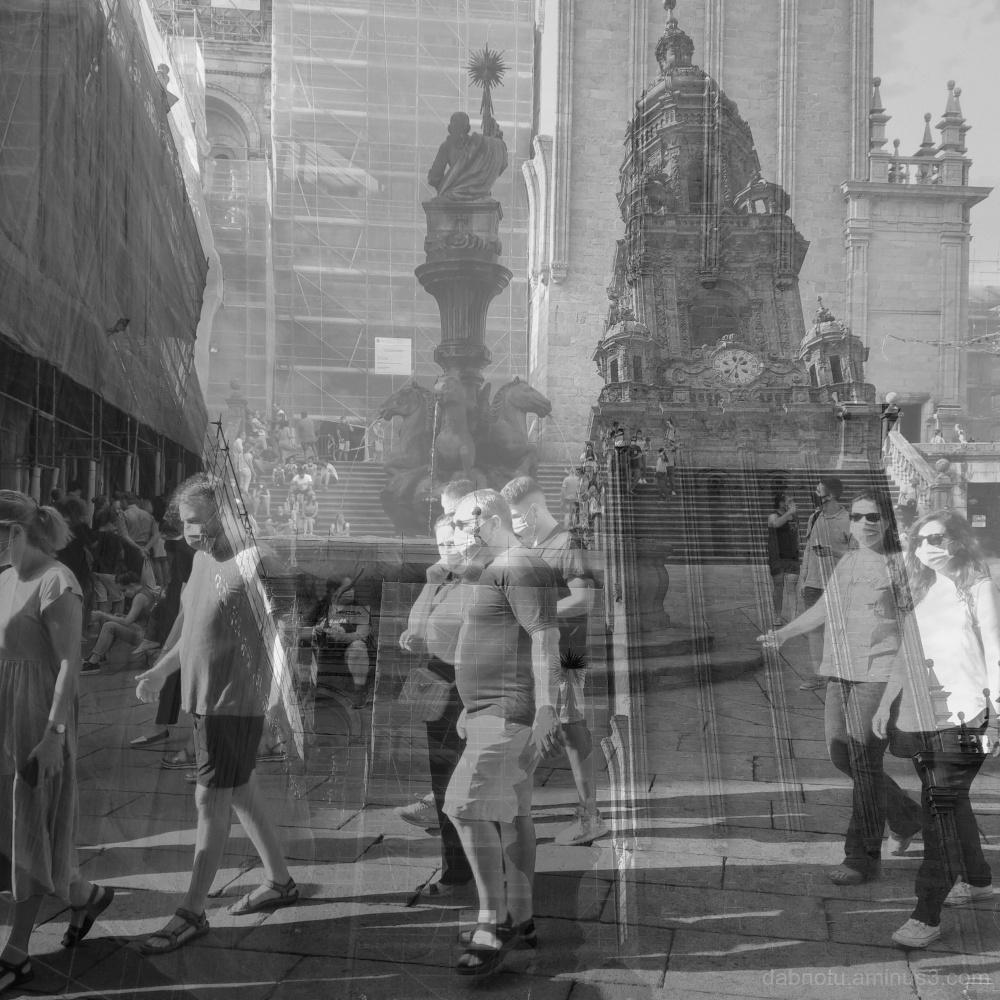 A street scene in Santiago de Compostela, Galicia.
