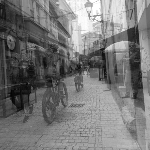 A street scene in Fisterra, Galicia, Spain.