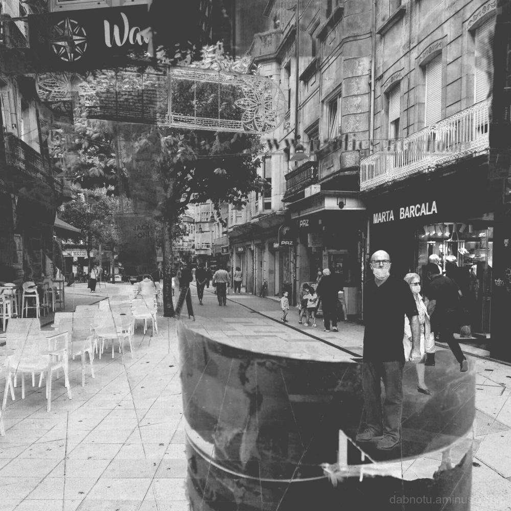 A street scene in Pontevedra, Galicia, Spain.