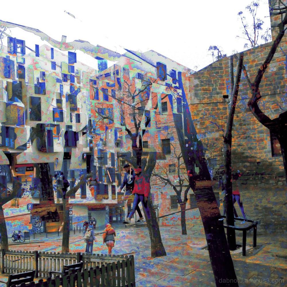 A street scene in Barcelona, Catalunya, España.