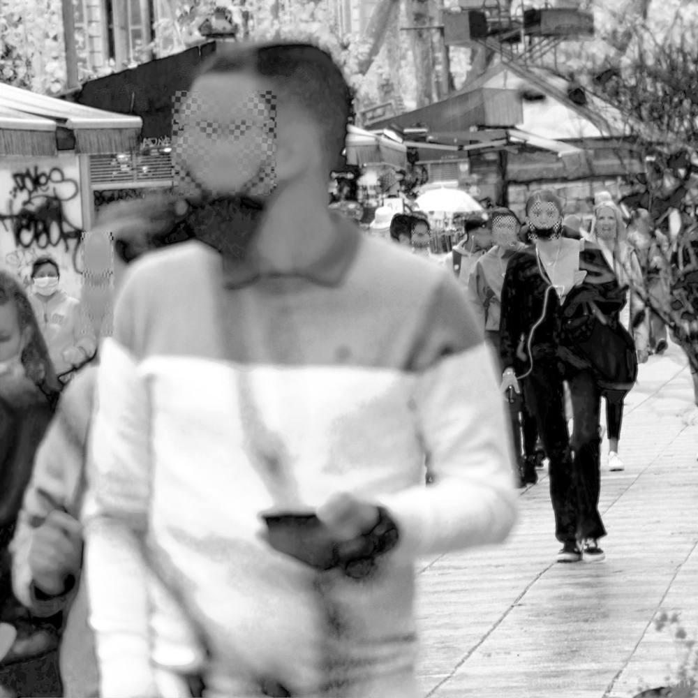 Street scene in Barcelona Catalunya Spain Europe.