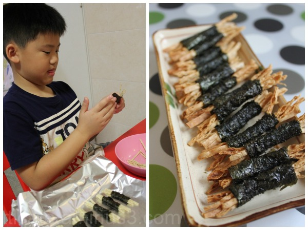 cod fish seaweed rolls
