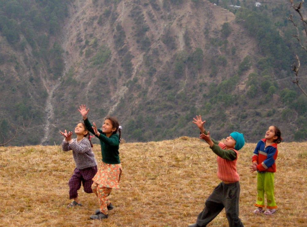 Playing with children in the mountains of India