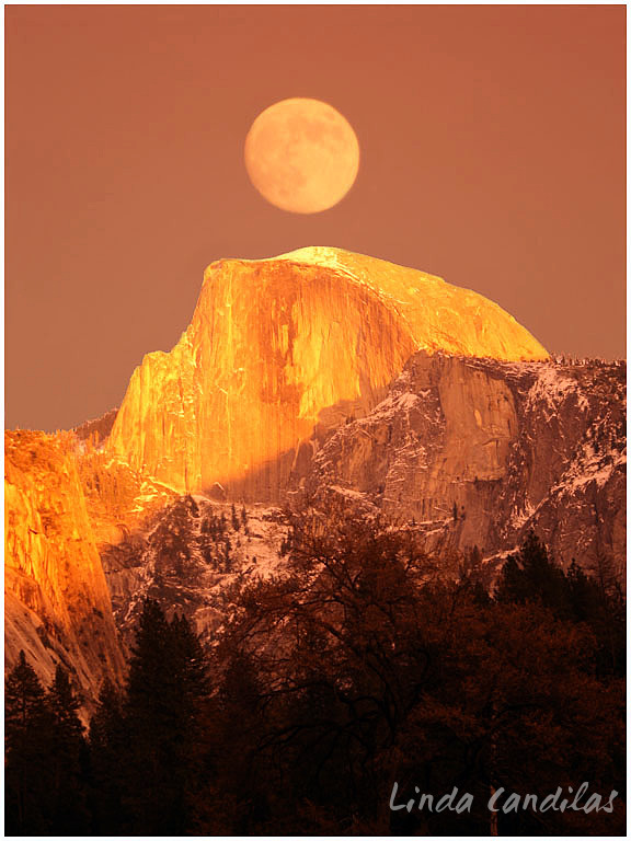 Moon over half Dome