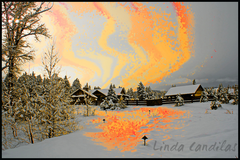 Montana Ranch with Sunset Painting