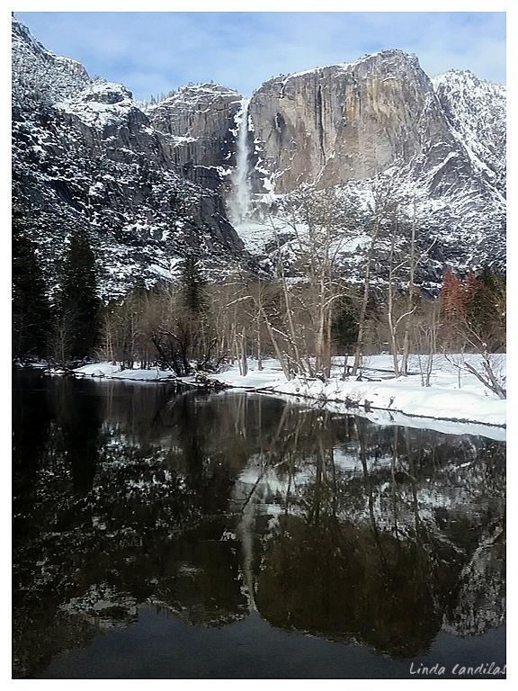 Yosemite Falls Reflection from Swing Bridge