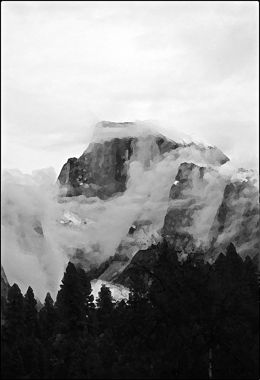 Clouds Swallowing Hafe Dome B&W