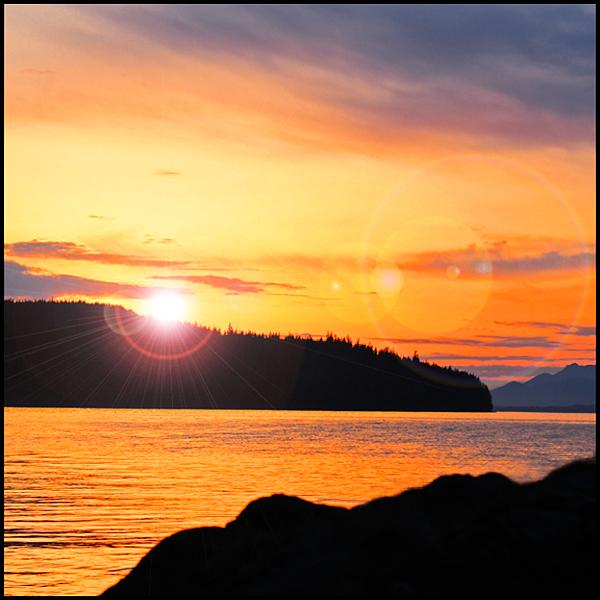 Alaska Sunset and Lens Flare