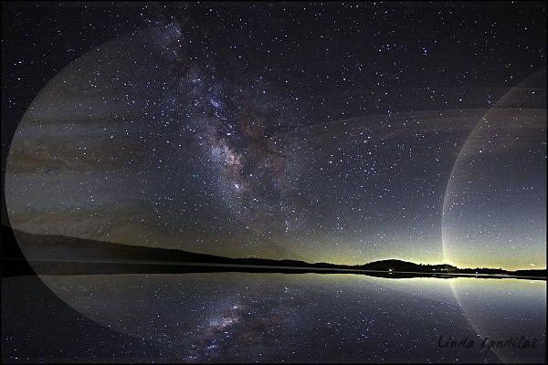 Milky Way Reflections, Jupiter and Sturn