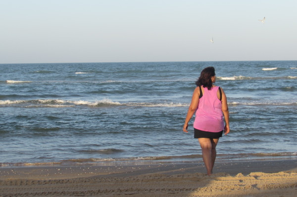 stepmother going towards waves