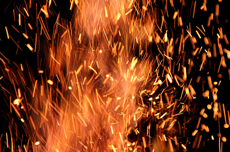 Close up of a camp fire