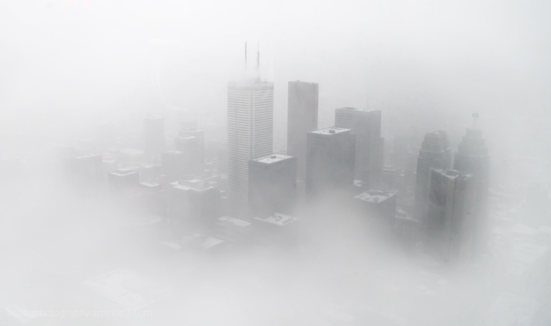 city in the fog
