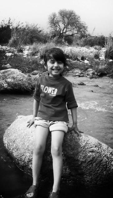Smiley, kid, black and white, B&W
