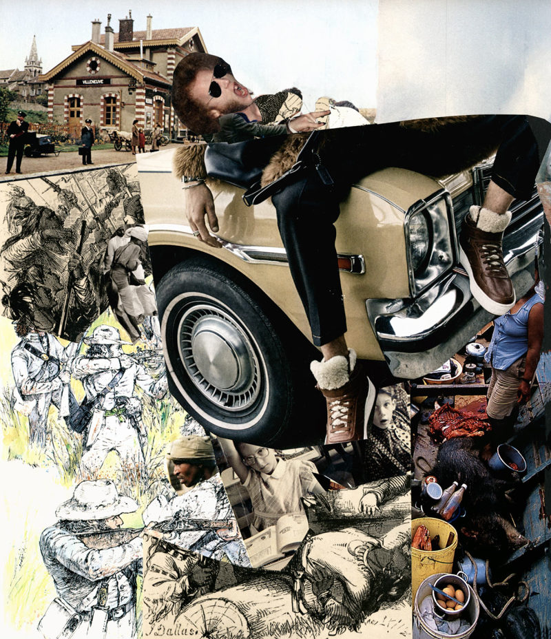 collage  cars junk pollution blues