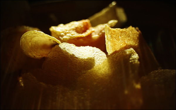close-up of crisps in a bowl