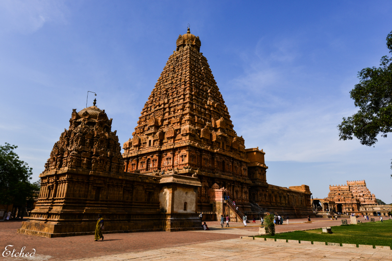"""Greetings from Tanjore, India  The Brihadeeswara Temple also called as """"Thanjavur Periya Kovil"""" in local language (Tamil) is located at Tanjore in the Indian state of Tamil Nadu.   This Hindu temple is dedicated to Lord Shiva. It is an important example of Tamil architecture achieved during the Great Chola kingdom. The temple is part of the [b]UNESCO[/b] World Heritage Site known as the """"[b]Great Living Chola Temples[/b]"""".  This is one of the largest temples in India and one of India's most prized architectural sites. Built by emperor Raja Raja Chola 'I' and completed in 1010 AD, the Brihadeeswara Temple, also popularly known as the 'Big Temple', turned [b]1000 years old in 2010[/b]."""