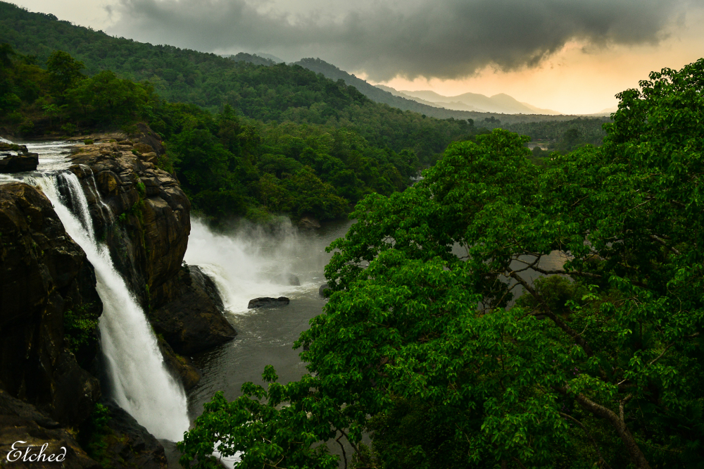 Atop the Athirapally waterfalls