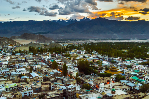 As the sun sets in Leh