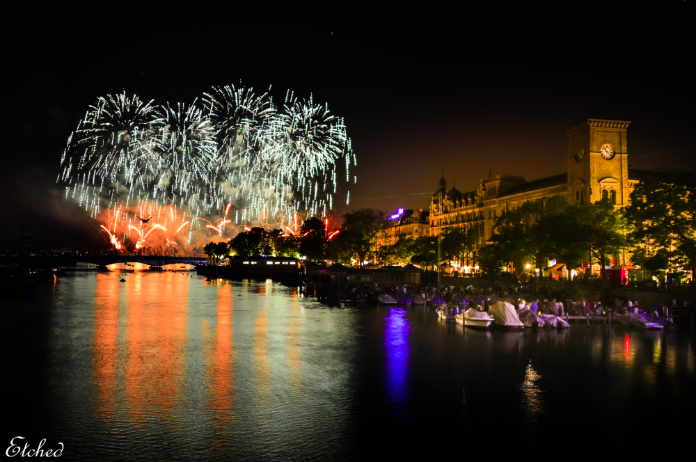 Fireworks during Zurich Festival