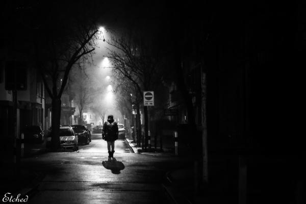 Alone on a misty night