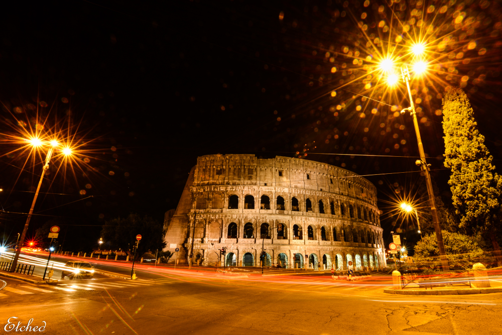 Colosseum as it glitters in the night..
