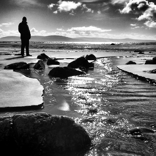 West of Ireland, seascape,  beach, silhouette,  wa