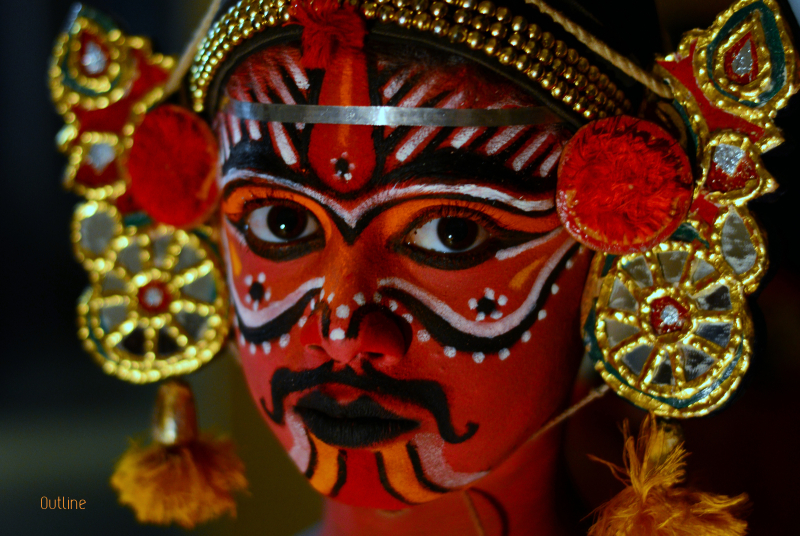 This is a picture of an young Kattaikkuttu Artist. Kattaikkuttu is the theatre of the rural people in the southern Indian state of Tamilnadu. It speaks their language and is acted by performers who share similar social and cultural backgrounds with the spectators.