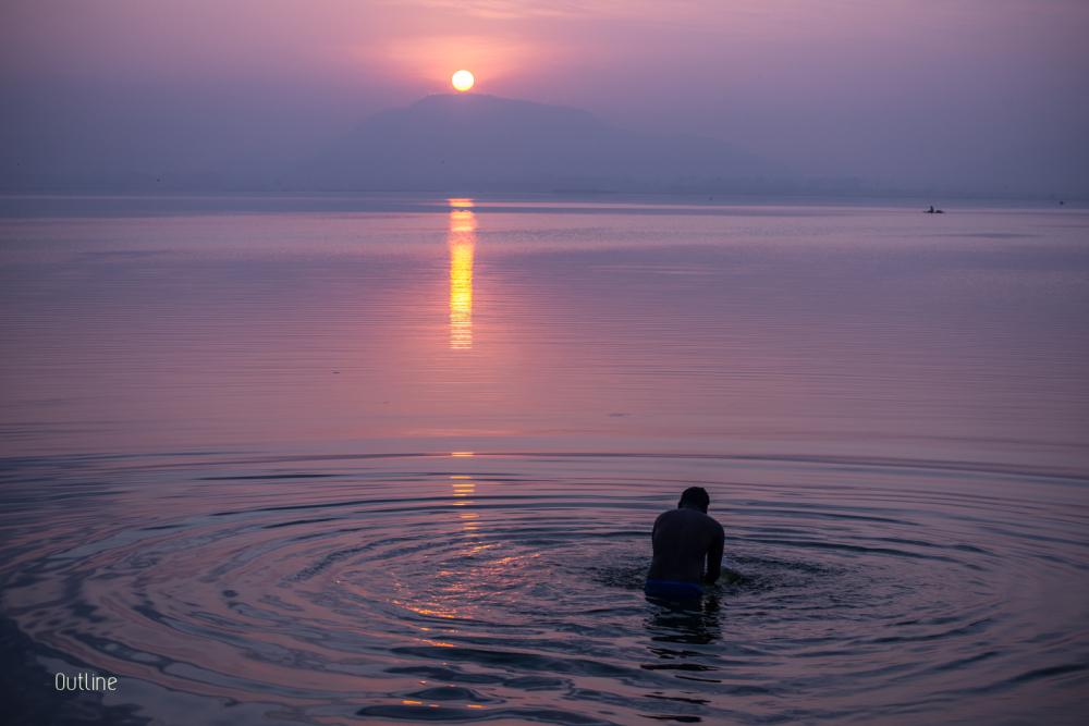 A dip at dawn