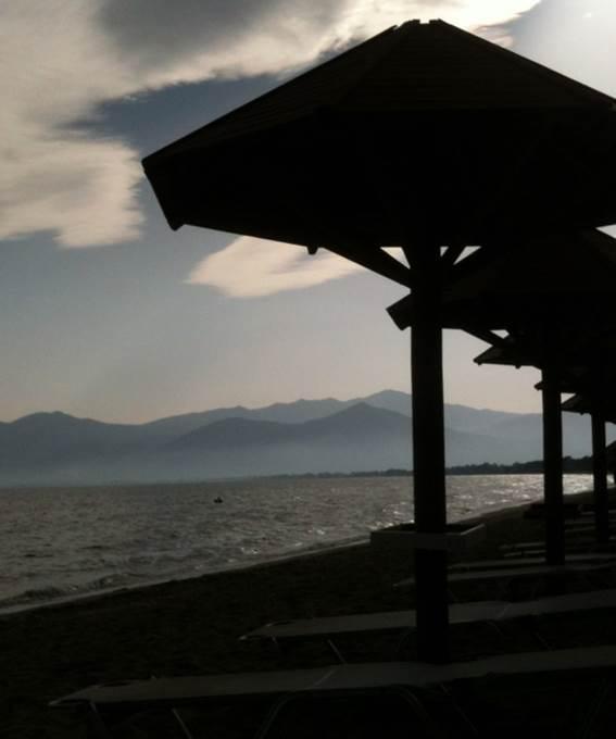 Night falls on a Greek beach