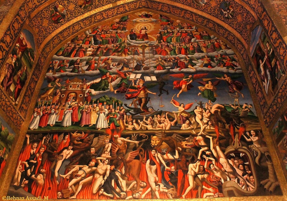 Depiction of Heaven, Earth, and Hell