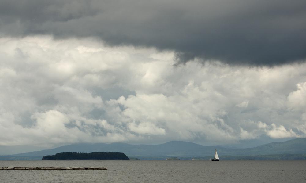 Sailing on Lake Champlain in the rain.