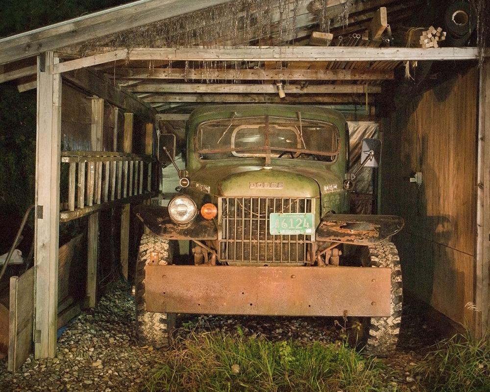 Old truck in the dark, in Vermont