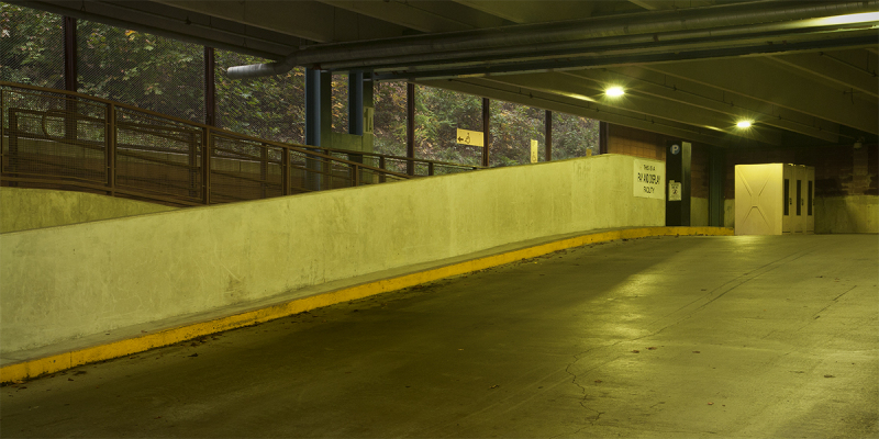 Parking garage in Brattleboro, Vermont, dawn