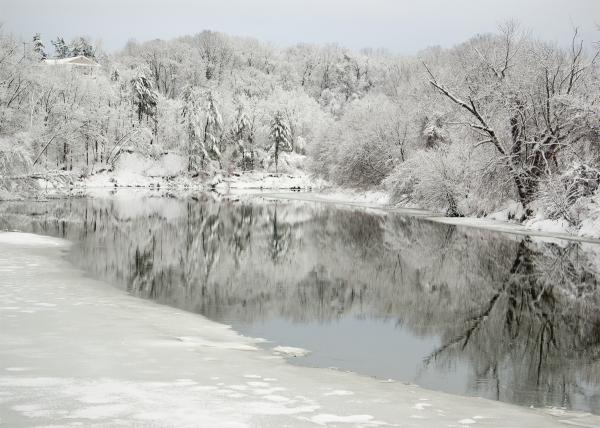 Winooski River half frozen.