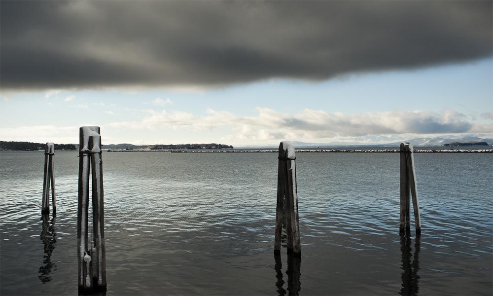 Burlington's waterfront in winter