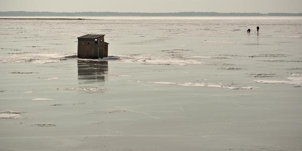 Ice fishing on Lake Chamolain