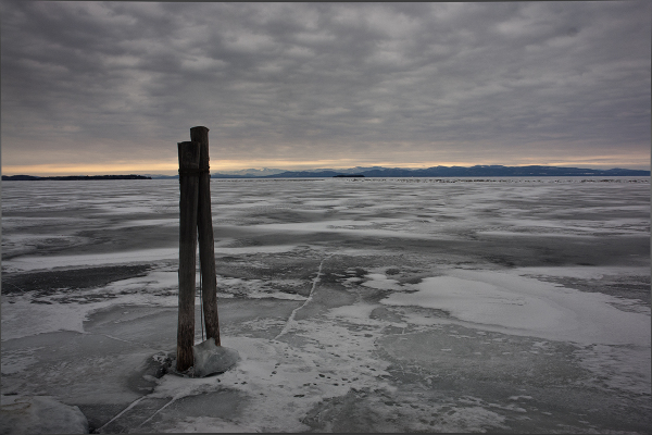 Sunset on frozen Lake Champlain