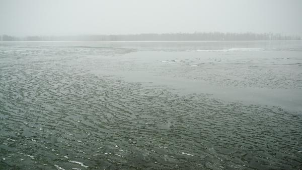 Snow Falling on Lake Champlain