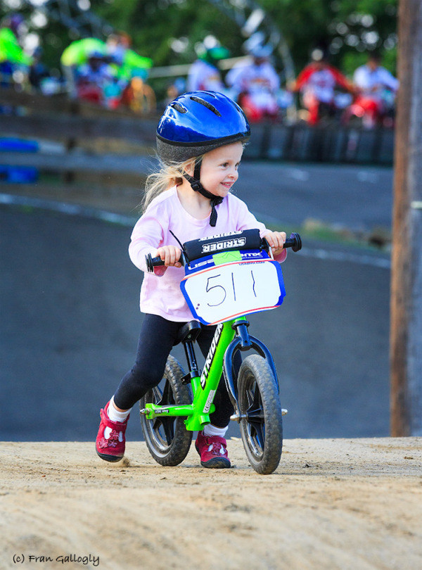Young Strider racing on BMX Track