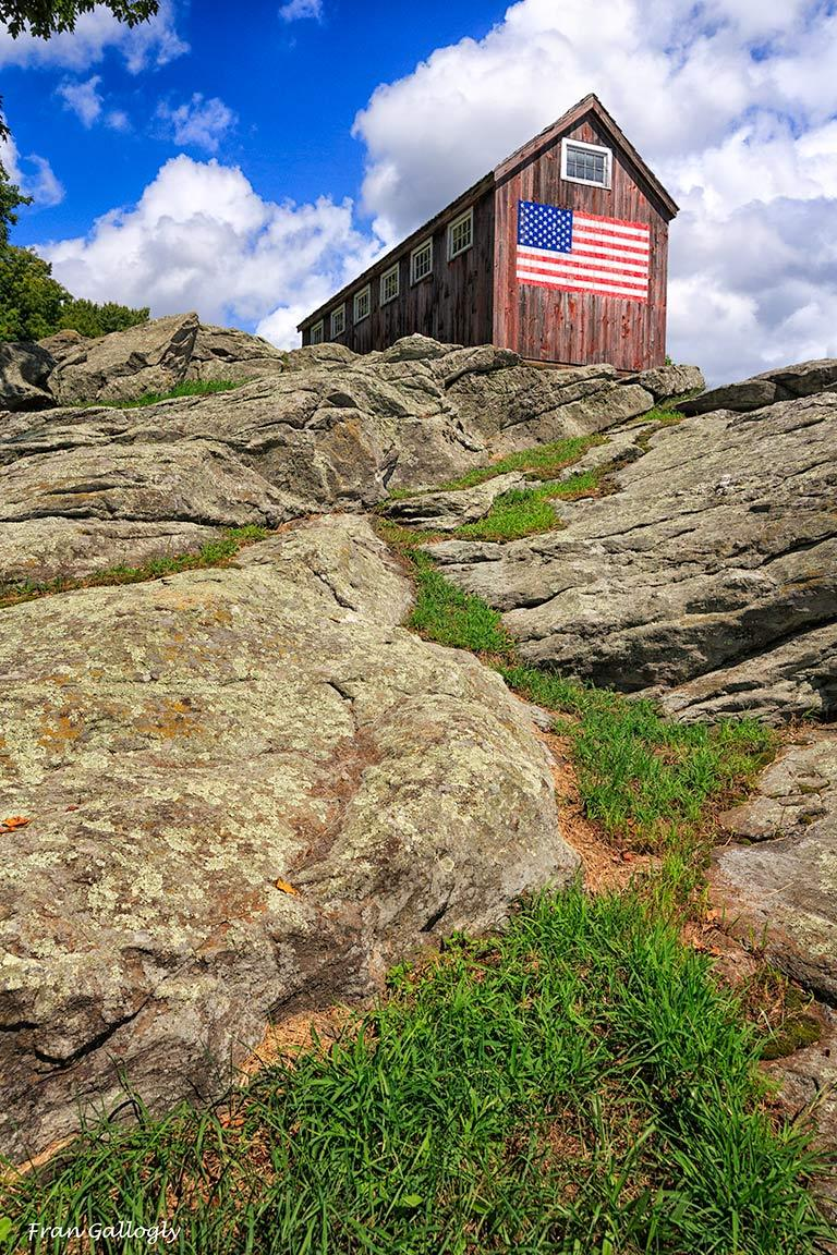 Bridgewater Barn with American flag painting